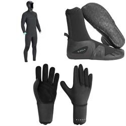 Vissla North Seas 5.5/4.5/3 Hooded Chest Zip Wetsuit + Vissla 7 Seas 5mm Round Toe Booties + Vissla 7 Seas 3mm Gloves