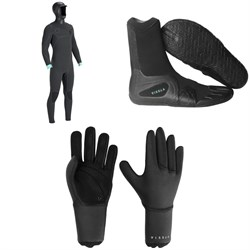 Vissla North Seas 5.5/4.5/3 Hooded Chest Zip Wetsuit + Vissla 7 Seas Split Toe Booties + Vissla 7 Seas 3mm Gloves