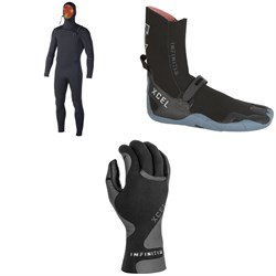 XCEL 5.5/4.5 Comp X Hooded Wetsuit + XCEL 5mm Infiniti TDC Round Toe Boots + XCEL 1.5mm Infiniti Thermo Lite 5-Finger Gloves