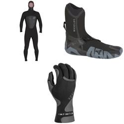 XCEL 5/4 Axis Front Zip Hooded Wetsuit + XCEL 5mm Drylock Split Toe Boots + XCEL 1.5mm Infiniti Thermo Lite 5-Finger Gloves