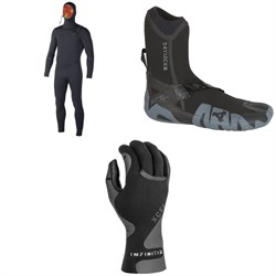 XCEL 5.5/4.5 Comp X Hooded Wetsuit + XCEL 5mm Drylock Split Toe Boots + XCEL 1.5mm Infiniti Thermo Lite 5-Finger Gloves