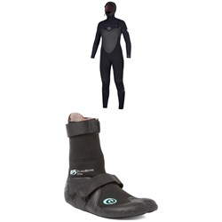 Rip Curl 5​/4 Flashbomb Hooded Wetsuit ​+ Rip Curl 3mm Flashbomb Hidden Split Toe Boots - Women's