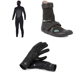 Rip Curl 5​/4 Flashbomb Hooded Wetsuit ​+ Rip Curl 3mm Flashbomb Hidden Split Toe Boots - Women's ​+ Rip Curl 3​/2 Flashbomb Gloves