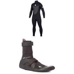 Rip Curl 4/3 Flashbomb Chest Zip Wetsuit + Rip Curl 3mm Flashbomb Hidden Split Toe Boots