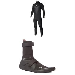 Rip Curl 4​/3 Flashbomb Chest Zip Wetsuit ​+ Rip Curl 3mm Flashbomb Hidden Split Toe Boots