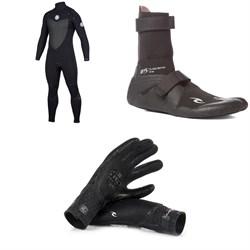 Rip Curl 4/3 Flashbomb Chest Zip Wetsuit + Rip Curl 3mm Flashbomb Hidden Split Toe BootsRip Curl 3/2 Flashbomb Gloves