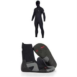 Rip Curl 5/4 Dawn Patrol Hooded Chest Zip Wetsuit + Rip Curl 5mm Dawn Patrol Round Toe Boots