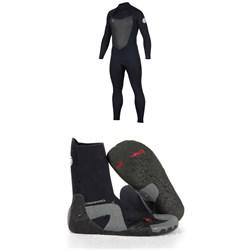 Rip Curl 4/3 Dawn Patrol Back Zip Wetsuit + Rip Curl 5mm Dawn Patrol Round Toe Boots