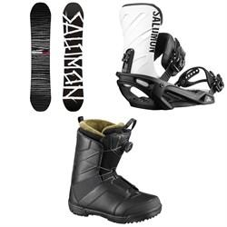 Salomon Craft Snowboard + Salomon Rhythm Snowboard Bindings + Salomon Faction Boa Snowboard Boots 2019