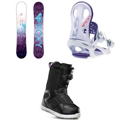 Roxy Sugar Banana Snowboard - Women's + Wahine Snowboard Bindings - Women's + thirtytwo Shifty Boa Snowboard Boots - Women's 2019