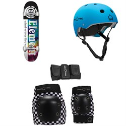 Element Tie Dye Section 7.7 Skateboard Complete ​+ Pro-Tec Classic Skate Skateboard Helmet ​+ Street Gear Junior Skateboard Pads