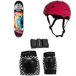 Element Tie Dye Script Skateboard Complete + Pro-Tec Classic Skate Skateboard Helmet + Street Gear Junior Skateboard Pads
