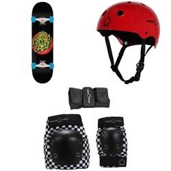 Santa Cruz TMNT Turtle Power 7.5 Skateboard Complete + Pro-Tec Classic Skate Skateboard Helmet + Street Gear Junior Skateboard Pads
