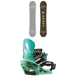 Arbor Ethos Snowboard - Women's + Flux GU Snowboard Bindings - Women's