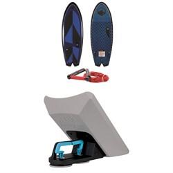 Liquid Force Rocket Wakesurf Board with Surf Rope + Liquid Force Wakesurf Edge Mega Wave Shaper