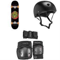 Santa Cruz TMNT Turtle Power 7.75 Skateboard Complete + Pro-Tec Classic Skate Skateboard Helmet + Street Gear Junior Skateboard Pads
