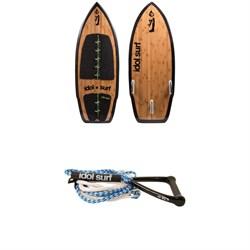 Idol Surf Twist LE Bamboo Wakesurf Board + Handle & 24 ft Surf Rope