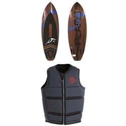 Inland Surfer Blue Lake Wakesurf Board + Follow Surf Edition Plus Wake Vest 2019
