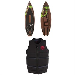 Inland Surfer Green Room Wakesurf Board ​+ Follow Surf Edition Wake Vest 2019