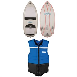 Ronix Potbelly Rocket Naked Wakesurf Board ​+ Parks Athletic Cut Impact Wakeboard Vest