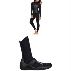 Roxy 3/2 Syncro Back Zip GBS Wetsuit + 3mm Syncro Round Toe Wetsuit Booties - Women's