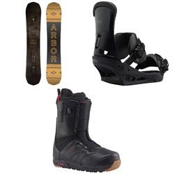 Arbor Element Black Rocker Snowboard  + Burton Custom Snowboard Bindings  + Ruler Snowboard Boots 2018