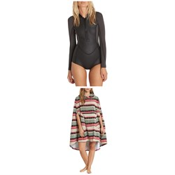 Billabong Salty Days Longsleeve Chest Zip Springsuit ​+  Hooded Poncho Towel - Women's