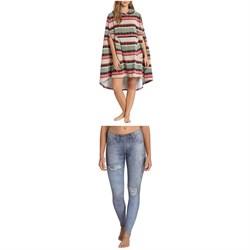 Billabong Hooded Poncho Towel + Skinny Sea Legs Wetsuit Pants - Women's