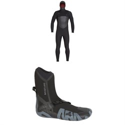 XCEL 5​/4 Infiniti TDC Hooded Wetsuit ​+ XCEL 7mm Drylock Celliant Round Toe Boots