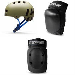 Destroyer Multi-Impact Skateboard Helmet ​+ Destroyer P Series Skateboard Knee Pads ​+ Destroyer The Elbow Pads