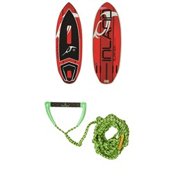 Inland Surfer Red Rocket Wakesurf Board + Proline x evo LGS Surf Handle w/ 25 ft Air Line