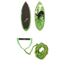 Inland Surfer Tako Wakesurf Board + Proline x evo LGS Surf Handle w/ 25 ft Air Line