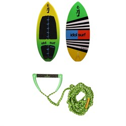 Idol Surf Machete Skim Wakesurf Board 2019 + Proline x evo LGS Surf Handle w/ 25 ft Air Line