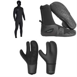 Vissla 7 Seas 5/4/3 Hooded Chest Zip Wetsuit + Vissla 7 Seas 5mm Round Toe Boots + Vissla 7 Seas 5mm Claw Gloves