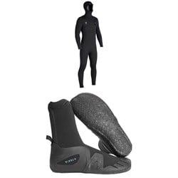Vissla 7 Seas 5/4/3 Hooded Chest Zip Wetsuit + Vissla 5mm 7 Seas Round Toe Wetsuit Boots