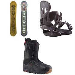 Rome Crossrocket Snowboard + Rome Arsenal Snowboard Bindings + Burton Ruler Snowboard Boots