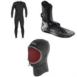 XCEL 4​/3 Comp Thermo Lite Wetsuit ​+ XCEL 3mm Drylock Celliant Round Toe Boots ​+ XCEL 2mm Infiniti Comp Thermo Lite Hood
