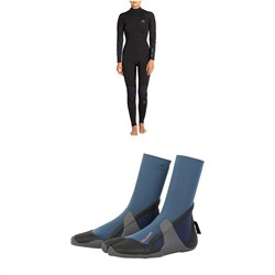 Billabong 3​/2 Synergy Flatlock Back Zip Wetsuit - Women's ​+ Billabong 3mm Furnace Synergy Wetsuit Booties - Women's