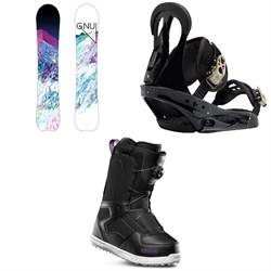 GNU Chromatic BTX Snowboard + Burton Citizen Snowboard Bindings + thirtytwo Shifty Boa Snowboard Boots - Women's