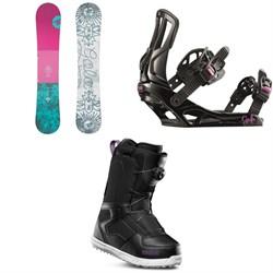 Rossignol Gala Snowboard - Women's + Rossignol Gala Snowboard Bindings - Women's + thirtytwo Shifty Boa Snowboard Boots - Women's 2019