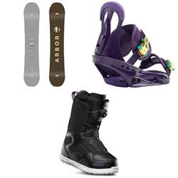 Arbor Ethos Snowboard - Women's + Burton Citizen Snowboard Bindings - Women's + thirtytwo Shifty Boa Snowboard Boots - Women's