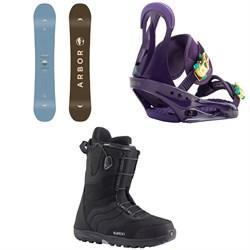 Arbor Ethos Snowboard - Women's + Burton Citizen Snowboard Bindings - Women's + Burton Mint Snowboard Boots - Women's