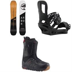 Arbor Coda Rocker Snowboard  + Burton Cartel Snowboard Bindings  + Burton Ruler Snowboard Boots 2018