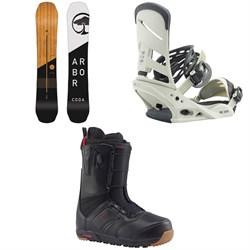Arbor Coda Rocker Snowboard  + Burton Mission Snowboard Bindings  + Burton Ruler Snowboard Boots 2018