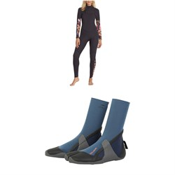 Billabong Salty Dayz Fullsuit 3/2 Wetsuit - Women's + Billabong 3mm Furnace Synergy Wetsuit Booties - Women's