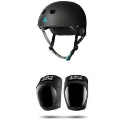 Triple 8 The Certified Sweatsaver Skateboard Helmet + 187 Pro Skateboard Knee Pads