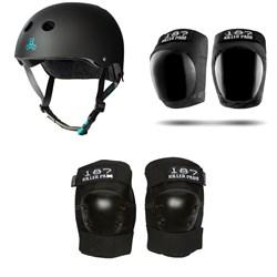Triple 8 The Certified Sweatsaver Skateboard Helmet + 187 Pro Skateboard Knee Pads + 187 Pro Skateboard Elbow Pads