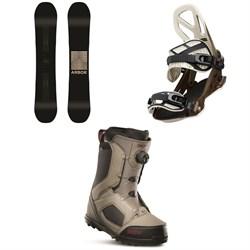 Arbor Formula Rocker Snowboard + Arbor Hemlock Snowboard Bindings + thirtytwo STW Boa Snowboard Boots 2020