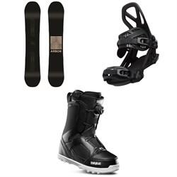 Arbor Formula Camber Snowboard + Arbor Hemlock Snowboard Bindings + thirtytwo STW Boa Snowboard Boots 2020