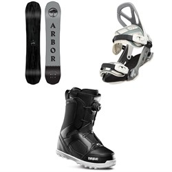 Arbor Element Black Camber Snowboard ​+ Arbor Hemlock Snowboard Bindings ​+ thirtytwo STW Boa Snowboard Boots 2020